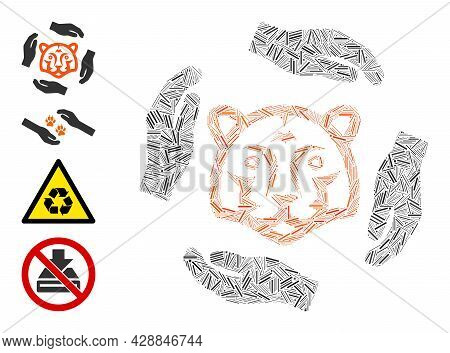 Linear Mosaic Save Tigers Icon Composed Of Narrow Items In Different Sizes And Color Hues. Linear It