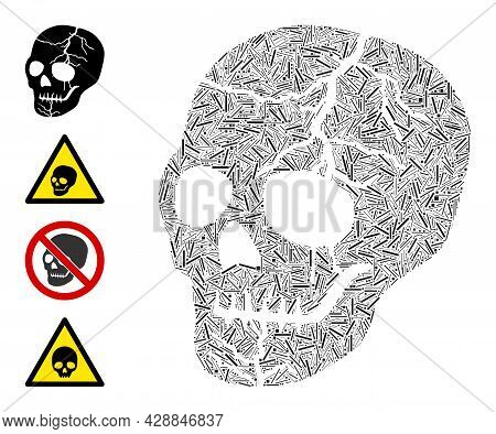 Hatch Mosaic Old Skull Icon Composed Of Straight Items In Different Sizes And Color Hues. Irregular