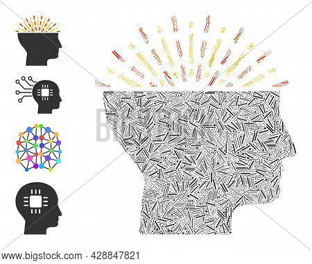 Line Collage Imagination Icon United From Narrow Items In Random Sizes And Color Hues. Lines Items A