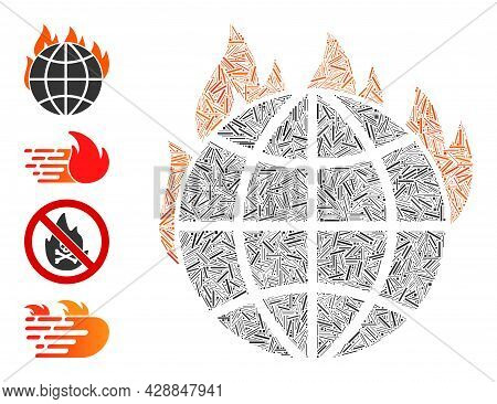 Hatch Mosaic Global Warming Fire Icon Designed From Thin Items In Random Sizes And Color Hues. Irreg