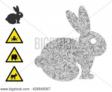 Linear Mosaic Rabbit Icon Organized From Straight Items In Various Sizes And Color Hues. Linear Part