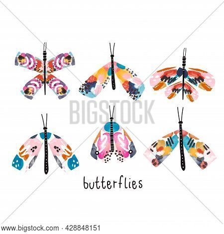 Creative Artistic Watercolor Set Of Moths And Butterflies. Vector Illustration