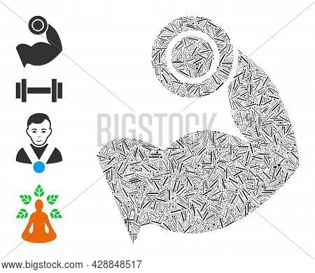 Linear Collage Bodybuilding Muscle Icon Designed From Straight Elements In Various Sizes And Color H