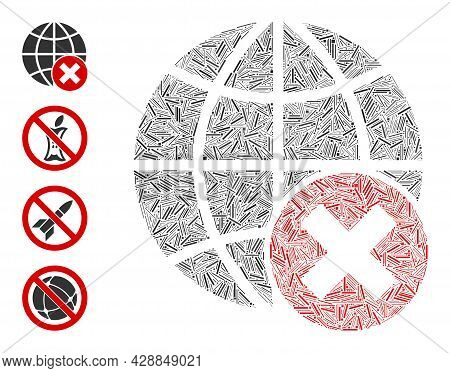 Hatch Collage Stop Globalization Icon Designed From Narrow Elements In Different Sizes And Color Hue