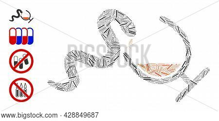 Linear Mosaic Snake Toxin Icon United From Straight Items In Different Sizes And Color Hues. Linear