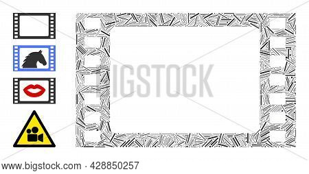 Hatch Mosaic Film Frame Icon United From Thin Items In Various Sizes And Color Hues. Irregular Hatch