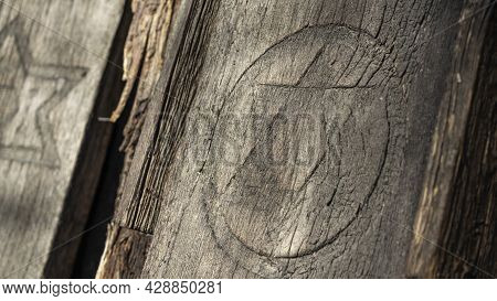 Abandoned Tombstones At The Old Jewish Cemetery. Hebrew Inscriptions On Tombstones. Tombstones On A