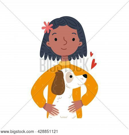 Cartoon Girl And Dog Portrait. Avatar Of A Black Woman And Her Pet, A White Retriever. A Cute Female
