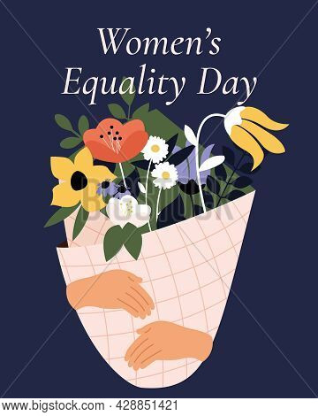 Women's Equality Day. Bouquet Of Cute Vintage Flowers In Wrapping On A Blue Background. Women, Women