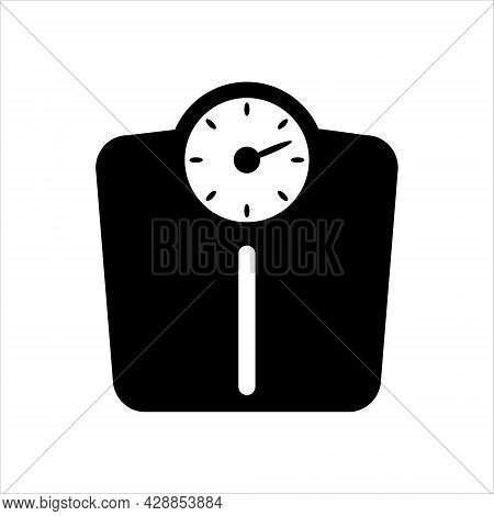 Bathroom Weigth Scale Icon. Weighing Machine, Logo Isolated On White Background. Flat Design Interfa