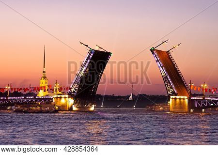 The Rise Of The Palace Bridge In St. Petersburg During The White Nights On June , View Of The Peter