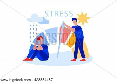 Flat Man Reducing Stress Level, Solves Problems And Reduces Psychological Pressure. Employee Struggl