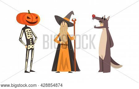 Man Character Dressed In Carnival Costume For Masquerade Vector Set