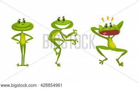 Funny Green Frog With Protruding Eyes Tiptoeing And Shouting Vector Set