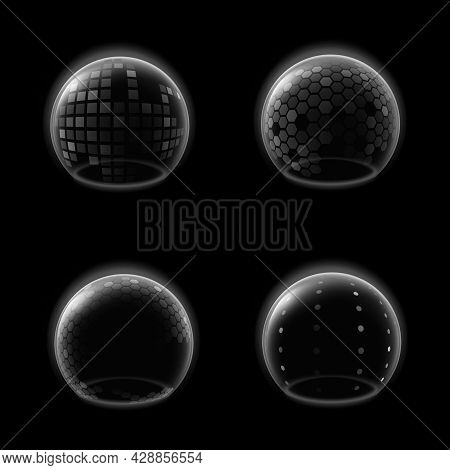 Shields Bubble. Transparent Futuristic Glossy Sphere, Safety Energy Barrier Force Field, Antiviral D