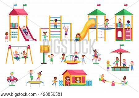 Kids Playground. Children Swing And Slides Garden, Colorful Bright Rides, Toddlers Play In Park, Car