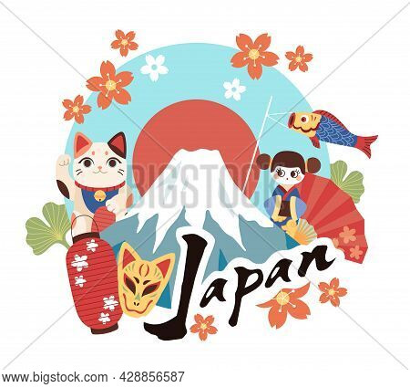 Welcome To Japan. Tourist Invitation Banner, Cultural Symbols Country, Decorative Lucky Toys, Daruma
