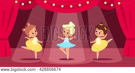 Ballet Scene. Little Ballerinas Perform On Stage, Red Curtain, Searchlight Lights, Young Dancers The