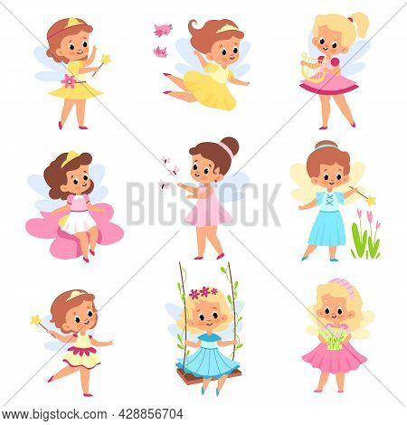 Kids Fairies. Beautiful Little Sorceresses With Magical Accessories, Wings, Tiaras And Flowers, Cute
