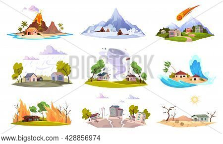 Natural Disaster. Environment Powers Challenges And Catastrophe, Flooding, Forest Fire And Hurricane