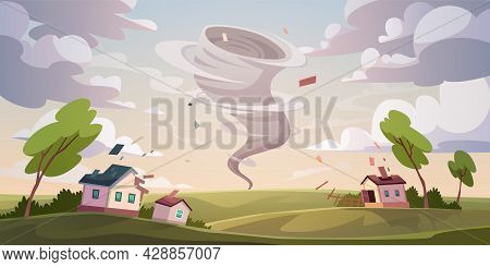 Tornado Catastrophe. Natural Disaster With Hurricane. Power Twisted Storm Concept. Houses Destructio