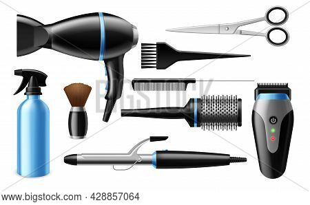 Realistic Hairdresser Tools. 3d Professional Salon Accessories. Isolated Barber Equipment Set. Beaut