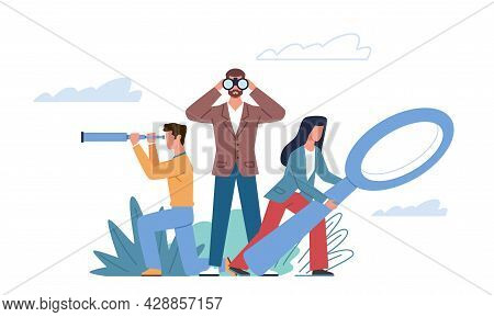 Search Goal. Right Idea And Decisions Quest, Different Point Of View, Business Team Strategy Vision,