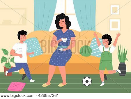 Tired Woman With Kids. Emotionally Exhausted Mother, Hyperactive Children In Room, Indoors Interior,
