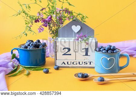 Calendar For August 21 :the Name Of The Month Of August In English, Cubes With The Number 21, Bluebe