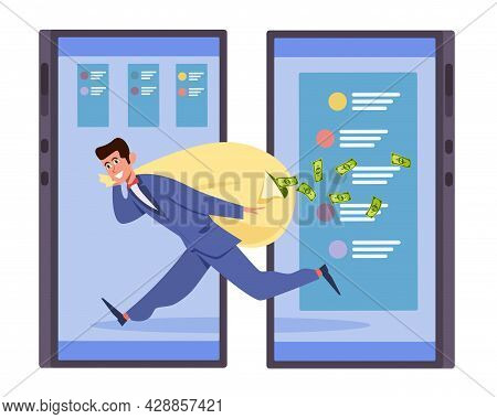 Mobile Information Theft. Financial Cybercrimes. Hacker Steals Personal Data. Robber Carries Bag Of