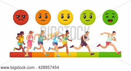 Race Of Emotions. Competition Success Measurement. Marathon Winners Rating. Emotional Face Expressio