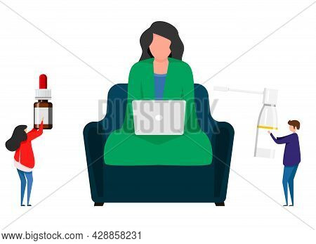 Sick Woman With Sore Throat Sitting On A Chair Inside The House. Seasonal Health Problem, Infection,