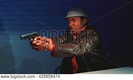 Close-up Of Black Criminal Grabbing The Gun And Threatening To Harm Cops. He Trying To Escape From I