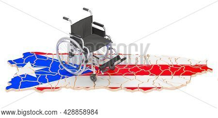 Wheelchair With Puerto Rican Flag. Disability In Puerto Rico Concept, 3d Rendering Isolated On White