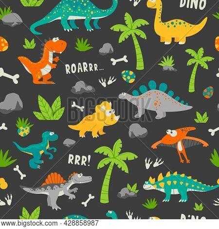 Vector Seamless Pattern. Cute And Funny Flat Dinosaurs - T-rex, Stegosaurus, Velociraptor, Pterodact