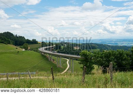 Highway Infrastructure In The Swiss Jura Landscape: Situation Close To Vallorbe