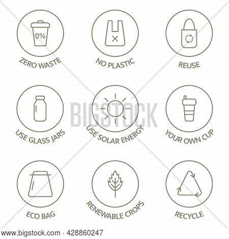 Zero Waste Line Icons Set. Recycle, Reuse, Reduce Logo. Eco, Bio Pictogram. Ecology Concept. Sustain