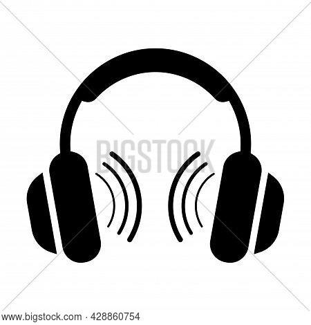 Headphones Icon Vector Illustration. Headphone Symbol. Music Plays From Headphones.