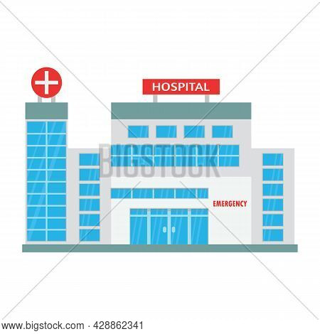 Hospital Building With Many Glass Windows. Hospital Outside Vector Illustration. Architecture With G