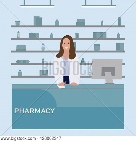 Desk Pharmacy With Woman Pharmacist. Drugstore Cartoon Character Design. Healthcare And Medical Trea
