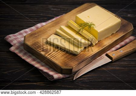 Butter, Parsley On Wooden Background Culinary, Piece