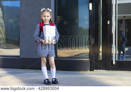 Cute Funny Smart Schoolgirl With Books. Back To School. Happy Child, Clever Girl Go To First Grade.