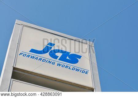Novazzano, Switzerland , Ticino - 16th May 2021 : Jas Fowarding Forward Company Sign Hanging In Fron