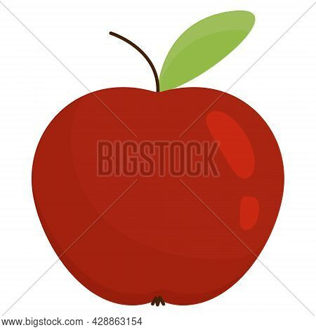 Apple In A Flat Style. Red Apple Isolated On White Background. Red Apple With Leaf And Highlights. V