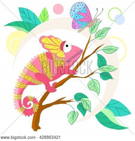 Vector Cartoon Chameleon On A Branch With A Butterfly On A White Background. Hand-drawn Creative Cha