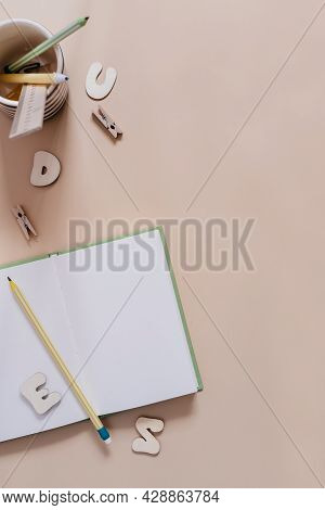 Creative Workplace Top View. Education, Learning, Study Stationary On The Table With Copy Space. Bla