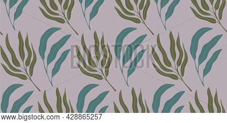 Seamless Pattern Background With Abstract Hand Drawn Plant Silhouette. Tropical Foliage Palm Tree Br
