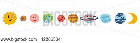 Set Of Cute Planet As Earth, Venus, Mercury, Jupiter, Saturn, Mars, Neptune, Uranus, Pluto In Cartoo