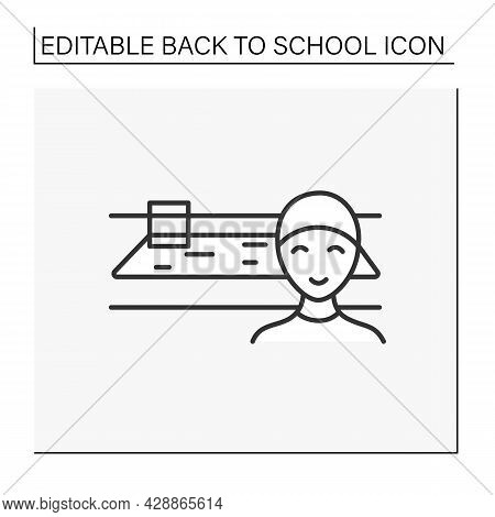 Pe Line Icon. Physical Education Lesson. Schoolboy On Swimming Pool. After-class Activity.education