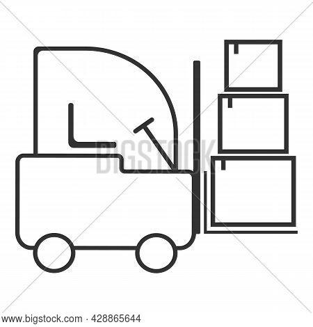 Forklift Loader Stacker Truck Equipment At Warehouse. Forklift Truck Flat Vector Icon